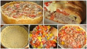 Открытый мясной пирог фото
