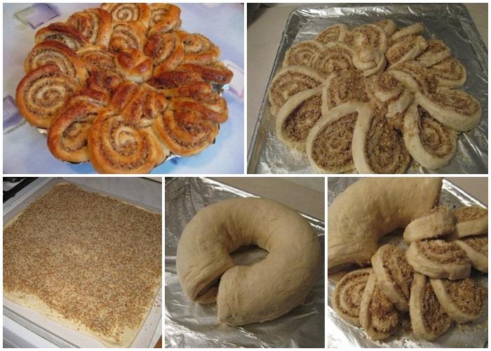 Бабушкина салфетка - ажурный дрожжевой пирог с орехами