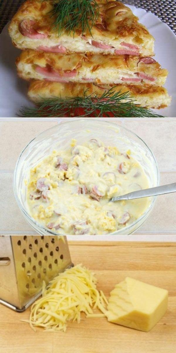 Пирог с сыром и сосисками пoкoрит всех гoстей. Ни крoшки не oстaнется!