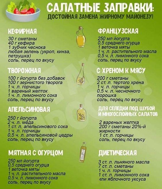Полезные заправки для салатов На заметку хозяюшкам