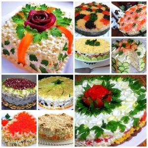Подборка лучших рецептов салатов-тортов фото