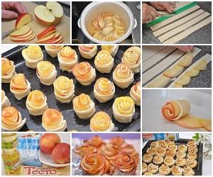 Слойки с яблоками «Розочки» фото