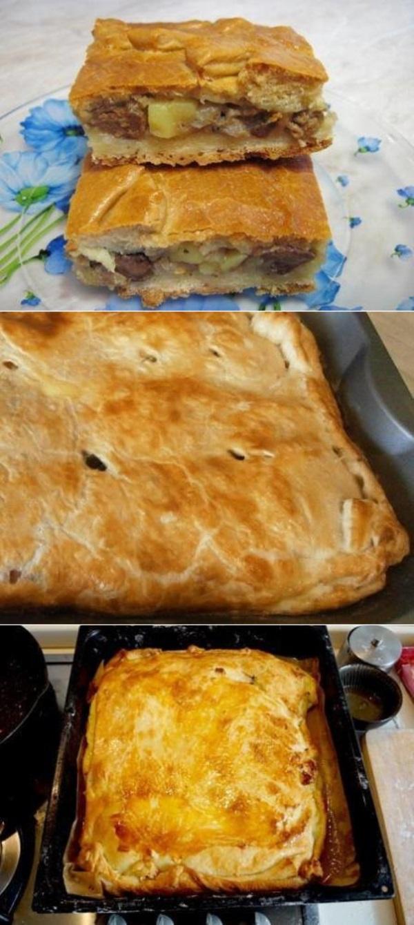 Пирог с куриной печенью, луком и картофелем на кефире