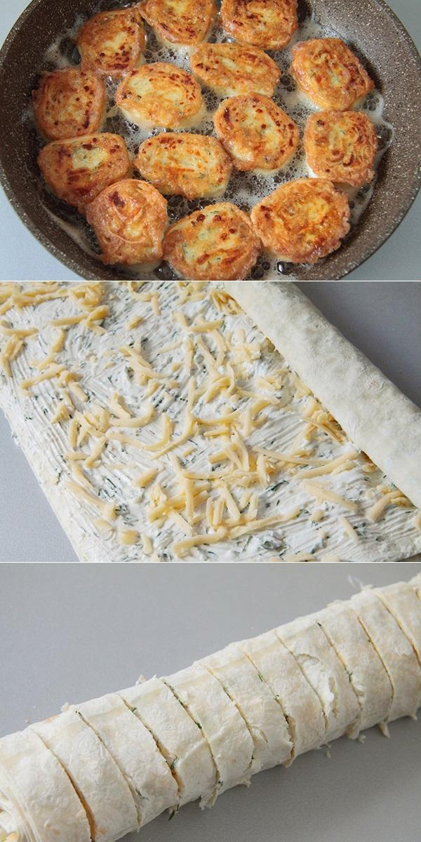 Жареные рулетики из лаваша с сыром