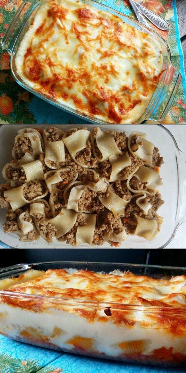 Ригатони фаршированные мясом под соусом Бешамель   Очень вкусное и праздничное блюдо, на итальянский мотив.