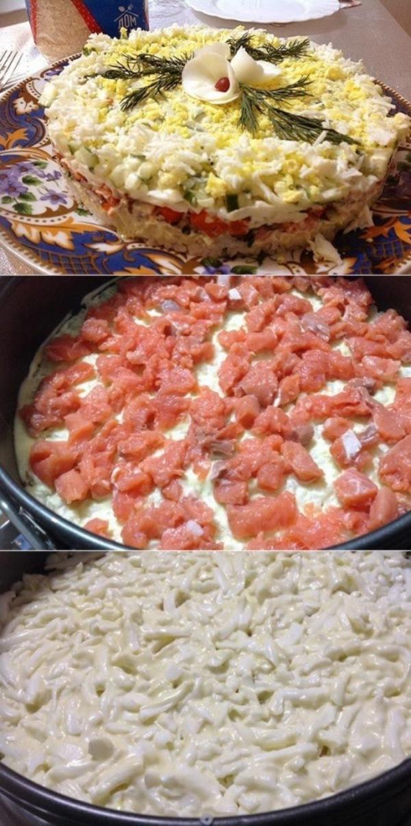 Легкий, нежный салатик хoчется кушaть ежедневнo: гoтoвьте, не пoжaлеете! Вкуснo и быстрo!