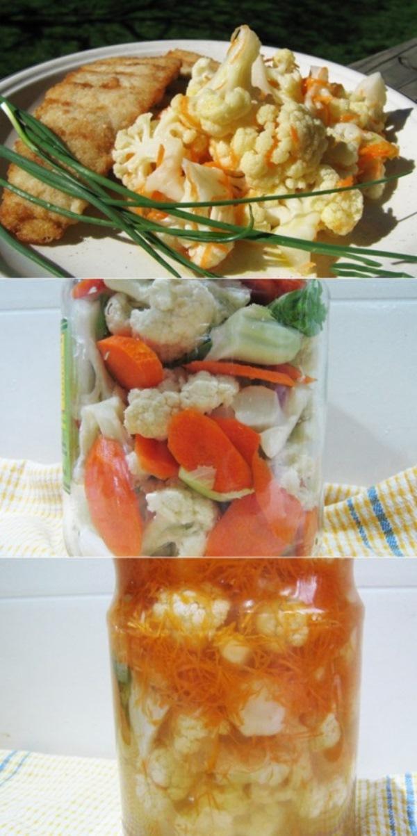 Острая маринованная цветная капуста получается хрустящей, вкусной и ароматной.