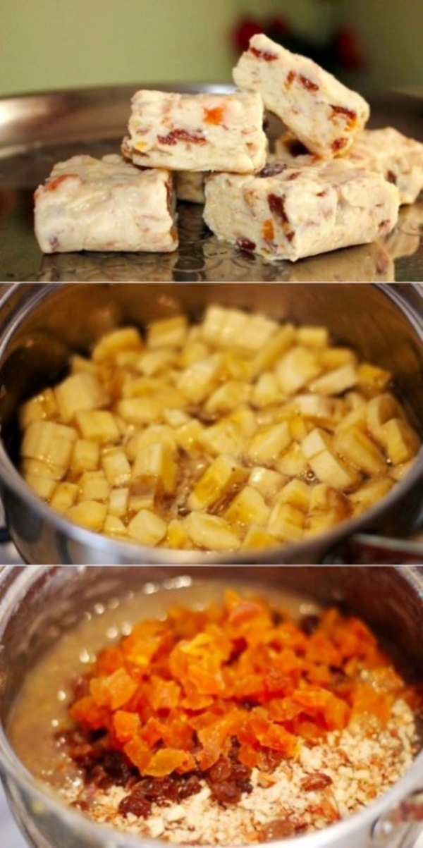 Банановые бурфи с орехами, курагой и изюмом. Рецепт из ряда: быстро и вкусно. Советую очень.