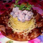 Макаронные гнёзда с копчёной курицей и грибами в сливочном соусе. Переплюнет все за столом!