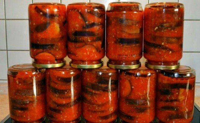 Баклажаны в томатном соке. Очень вкусно и легко!