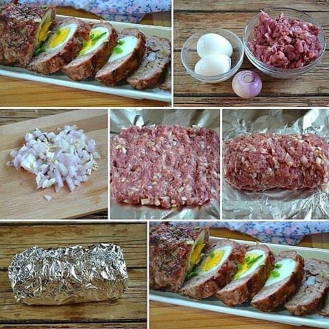 Рецепт вкусного запеченного мясного рулета с яйцом 5